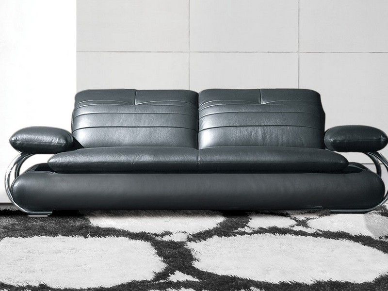 Ethan Allen Black Leather Sofa