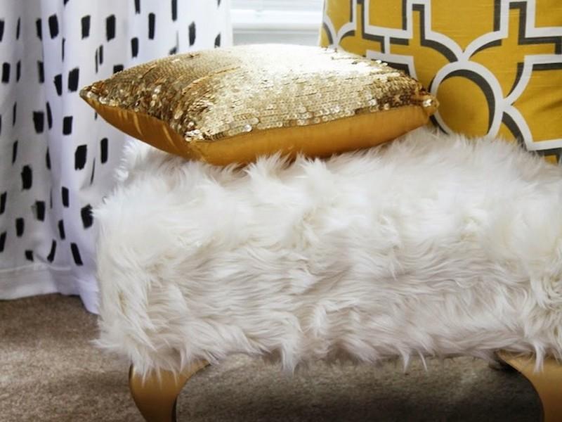 Faux Fur Ottoman Cover