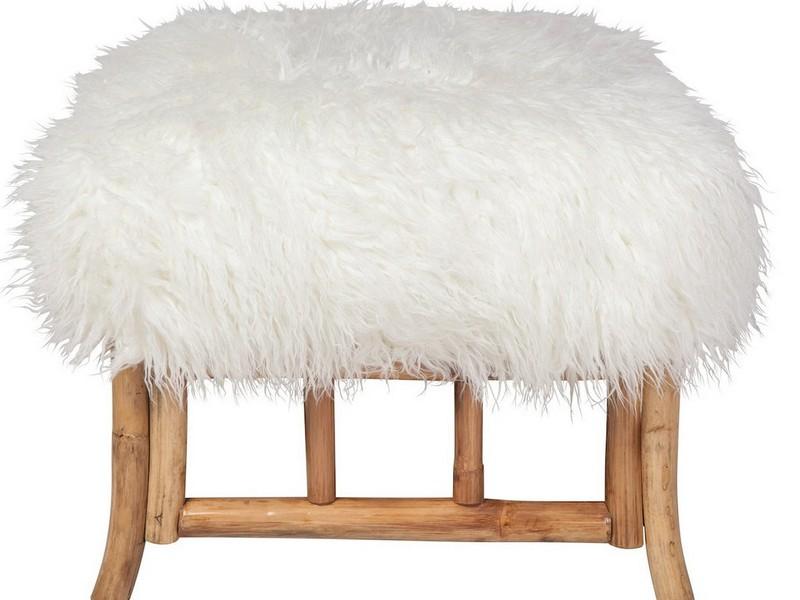 Faux Fur Pouf Ottoman