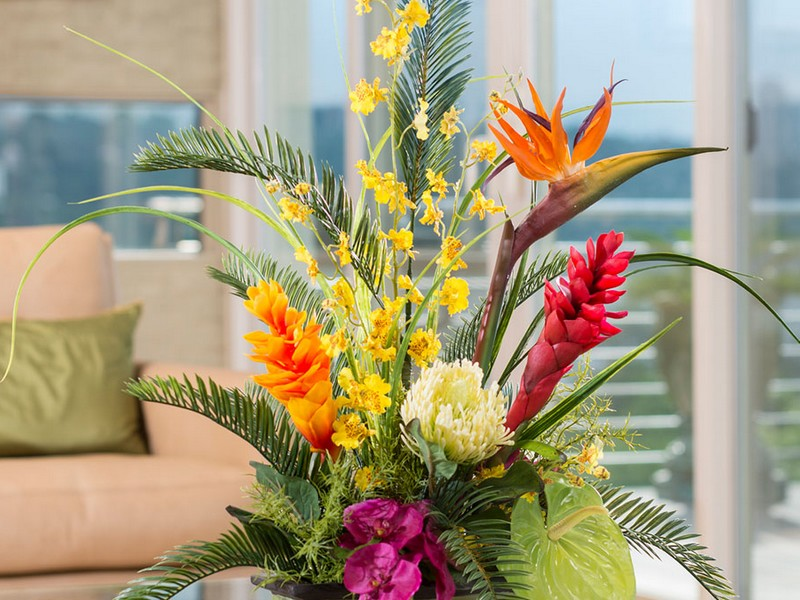 Faux Tropical Flower Arrangements