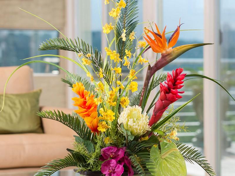 Faux Tropical Flower Arrangements