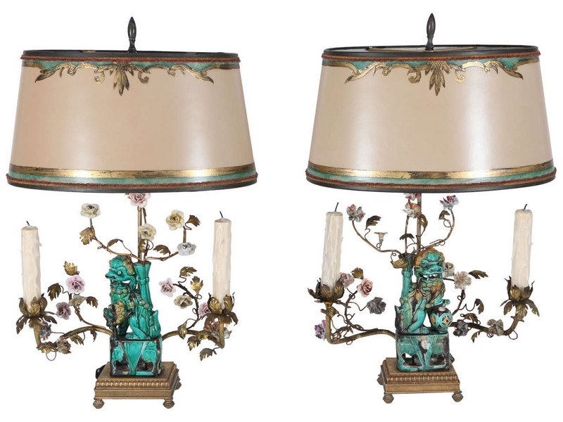 Foo Dog Lamps Pair