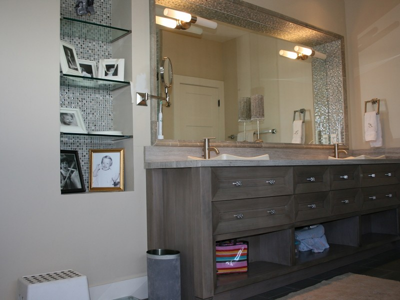 Framed Bathroom Mirror With Shelf