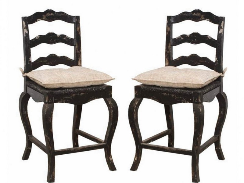 French Country Counter Stools With Rush Seats