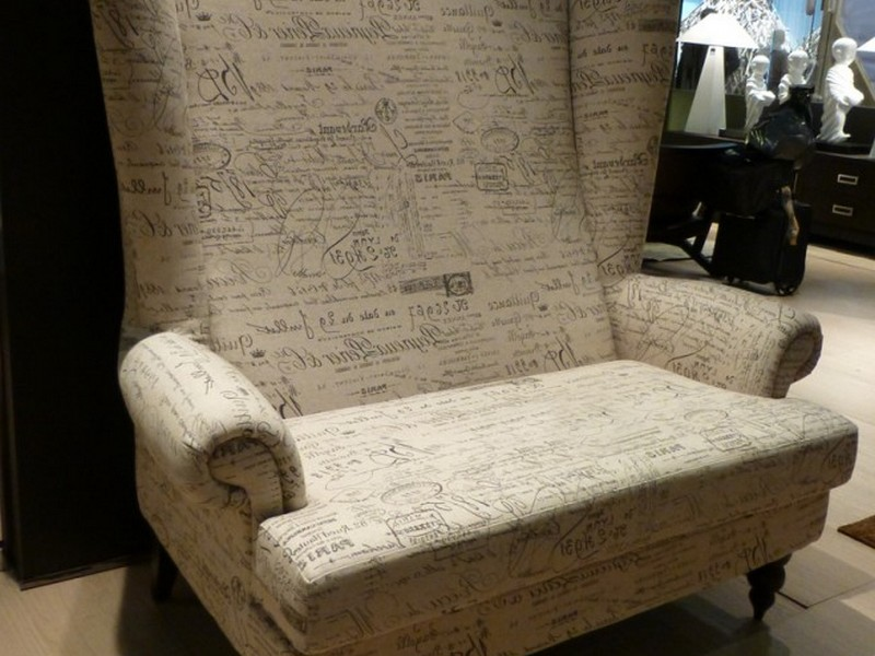 French Script Wingback Chair
