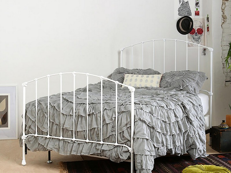 Full Size White Metal Headboard