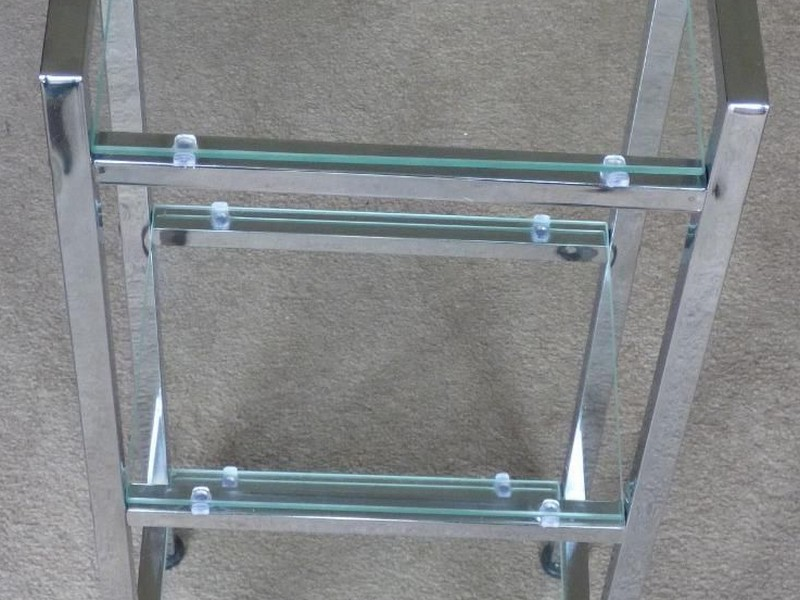 Glass And Chrome Bathroom Shelf Unit