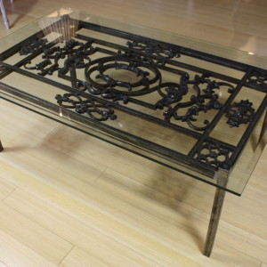 Glass And Wrought Iron Coffee Table