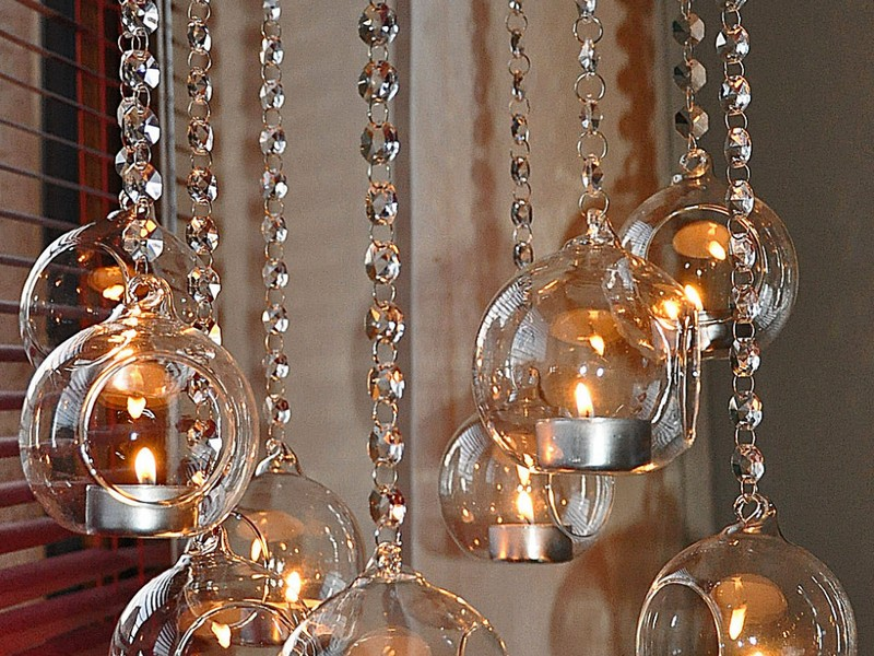Glass Chandelier Candle Holders