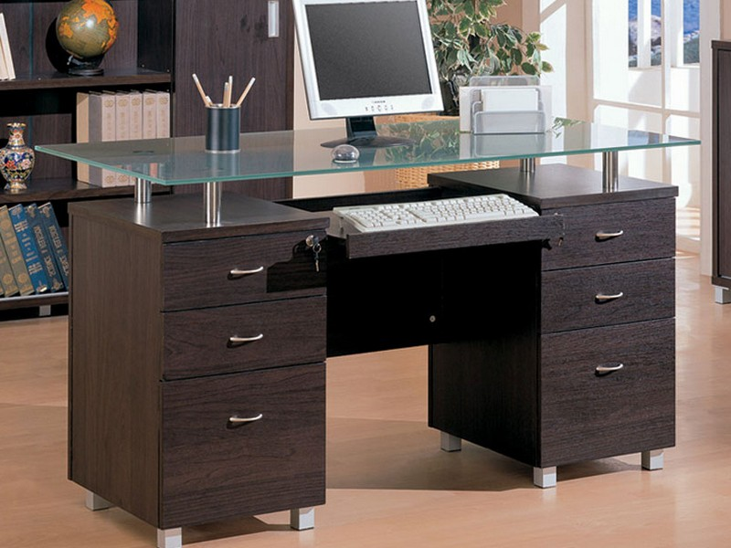 Glass Desk With Drawers