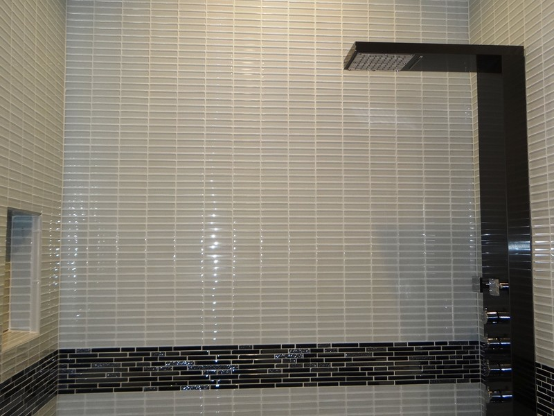 Glass Subway Tile In Bathroom
