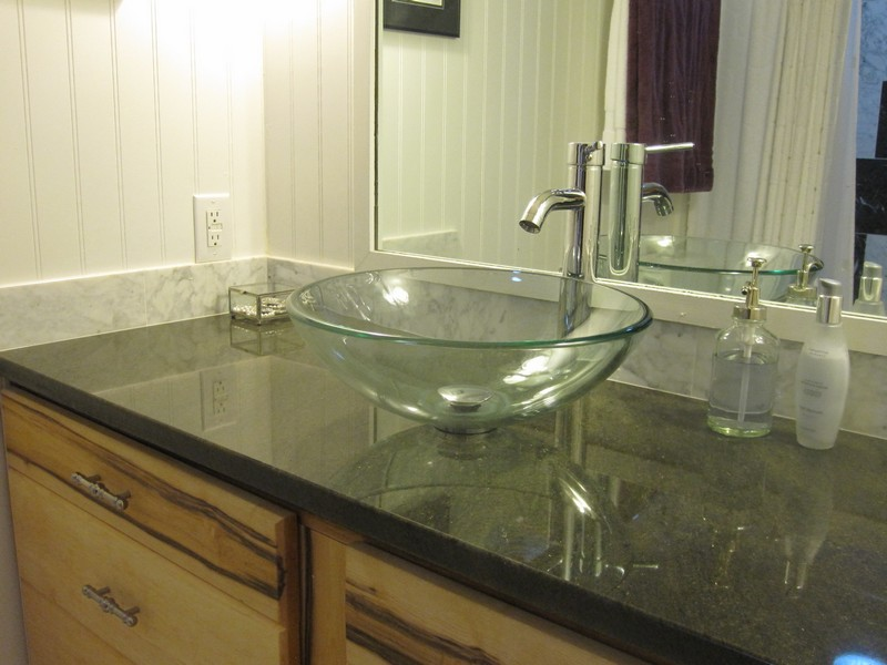Glass Tile Bathroom Countertop