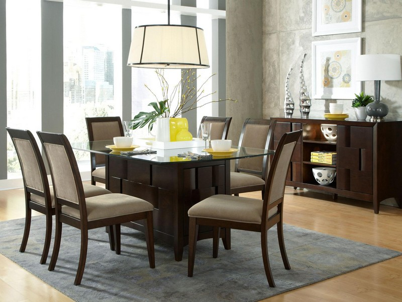Glass Top Pedestal Dining Table Sets