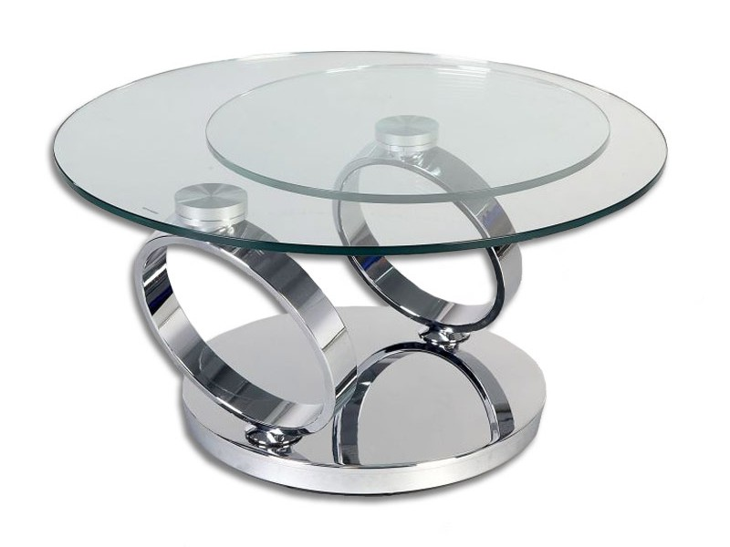 Glass Top Swivel Coffee Table