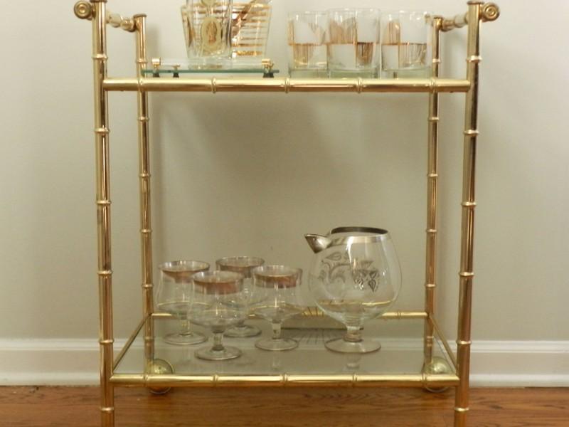 Gold Bamboo Bar Cart
