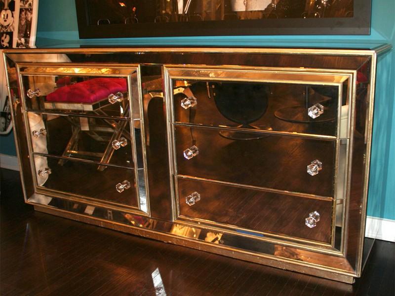 Gold Mirrored Nightstand