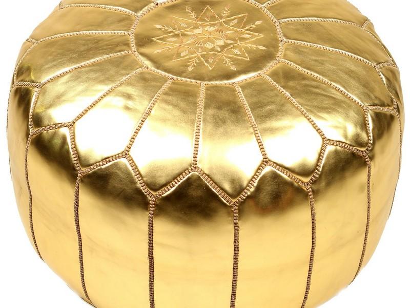 Gold Moroccan Pouf Ottoman
