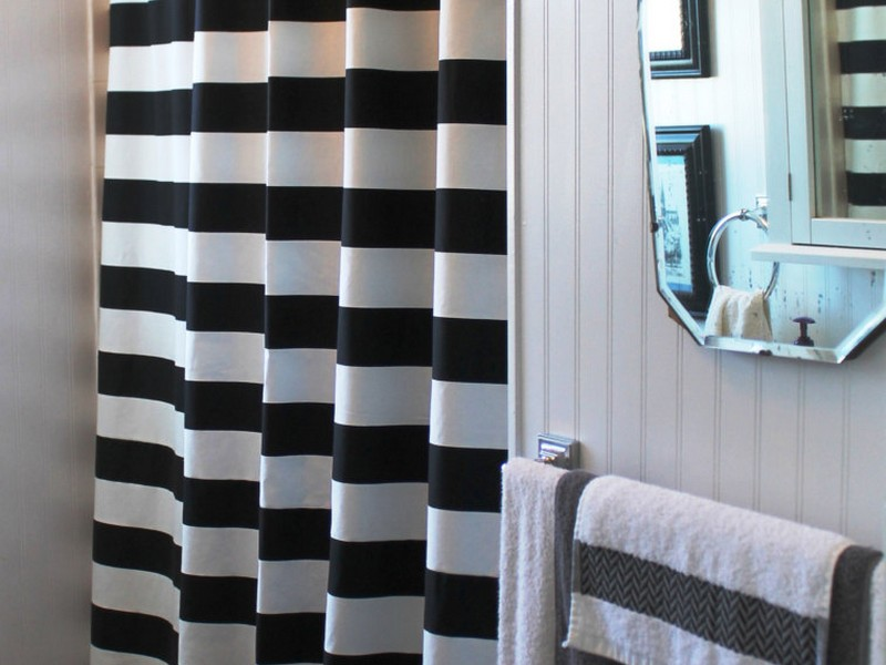 Gray And White Striped Shower Curtain
