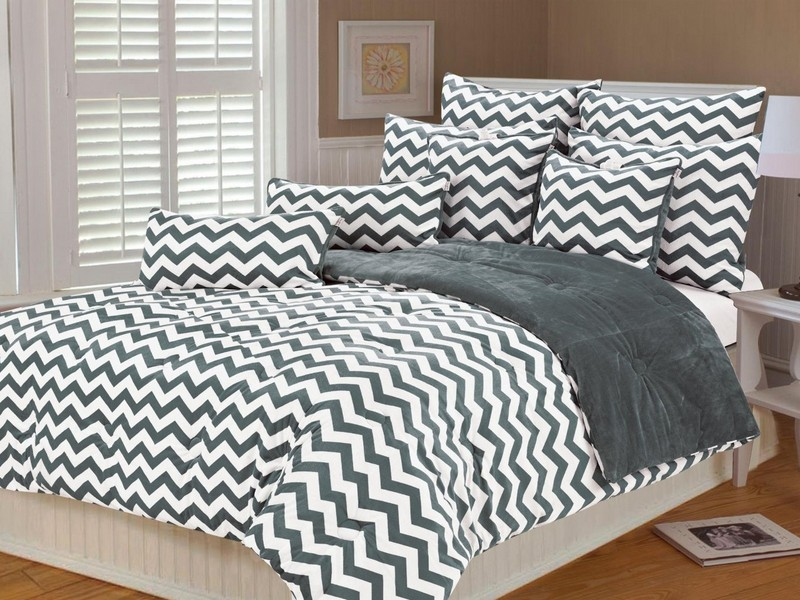 Gray Chevron Bedding Queen