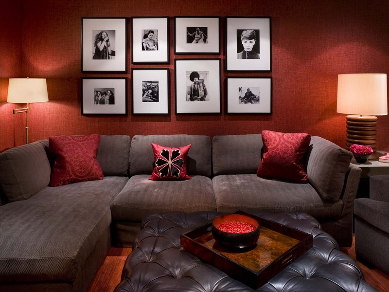 Gray Couch Red Pillows