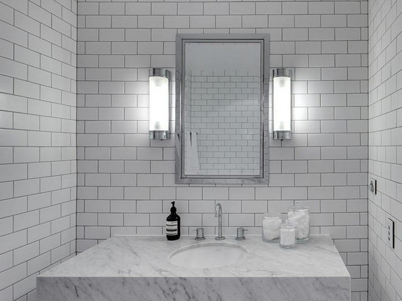 Gray Glass Subway Tile Bathroom