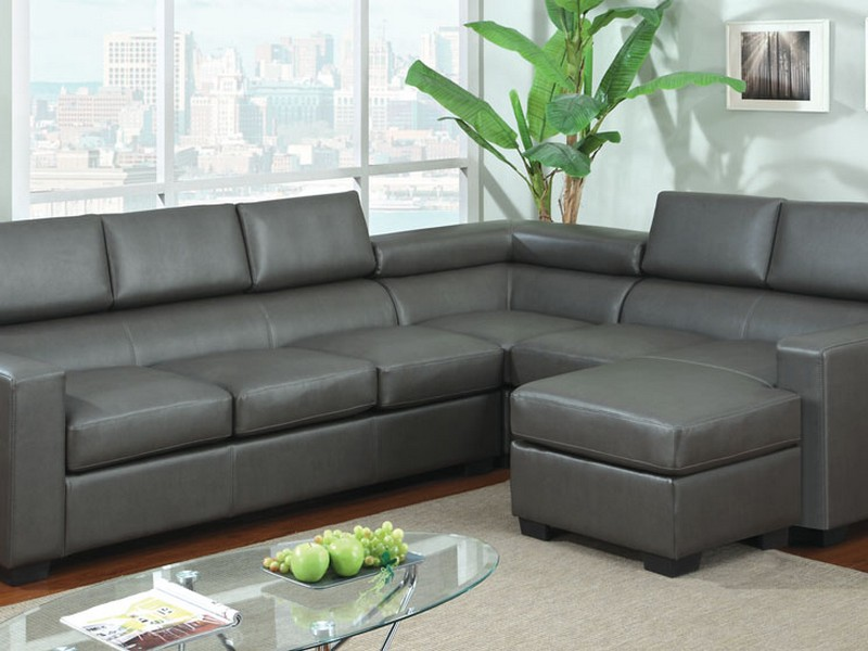 Gray Leather Sectional Sofa