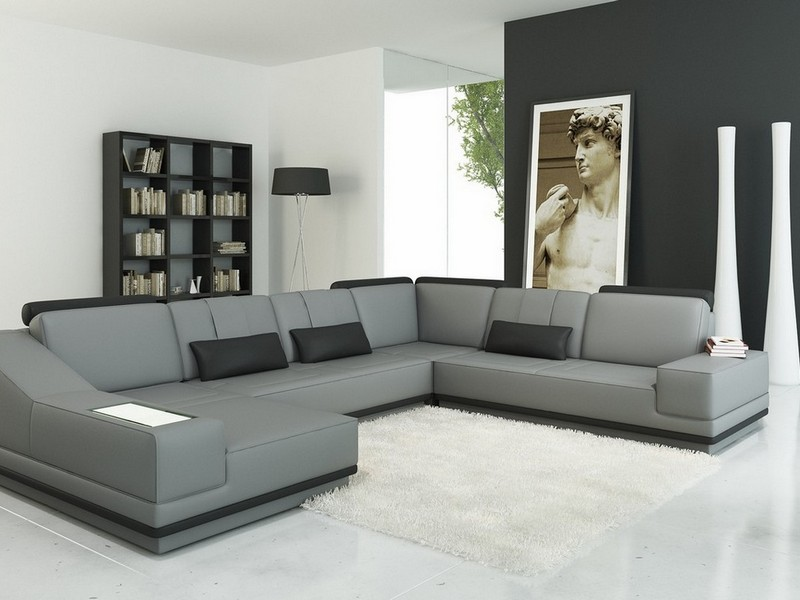 Gray Leather Sofa Sectional
