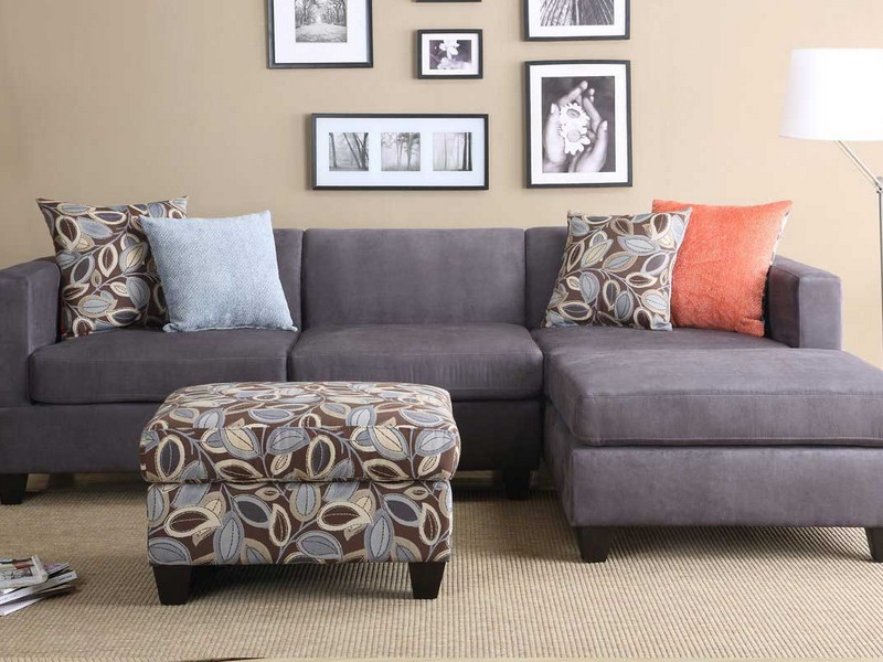 Gray Microfiber Sectional Couch
