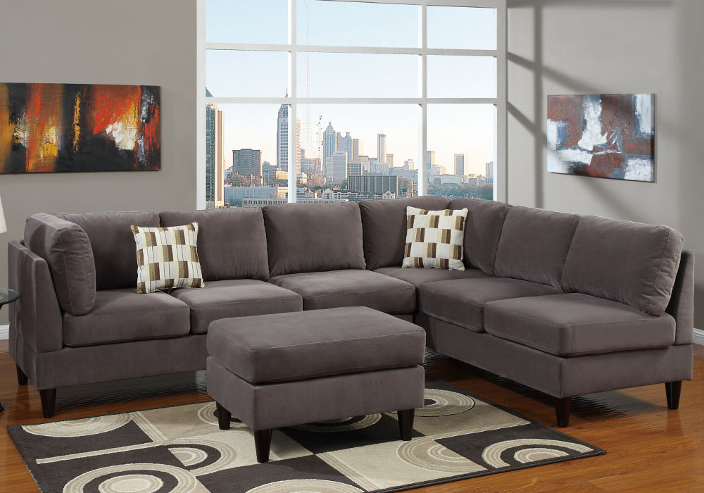 Gray Microfiber Sectional Sofa