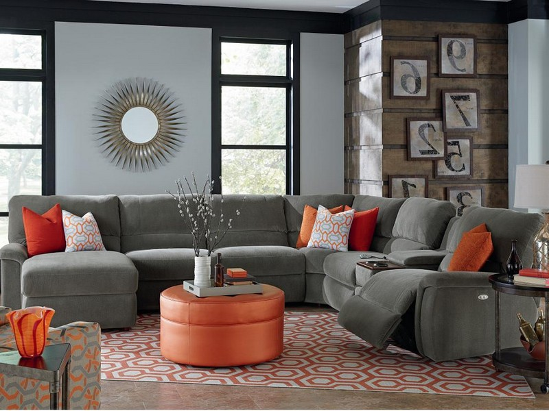 Gray Sectional Sofa With Recliner