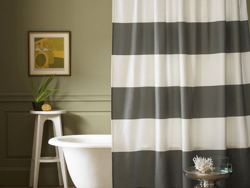 Gray Striped Shower Curtain