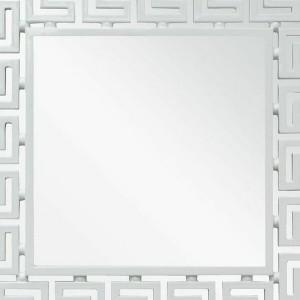 Greek Key Mirror White