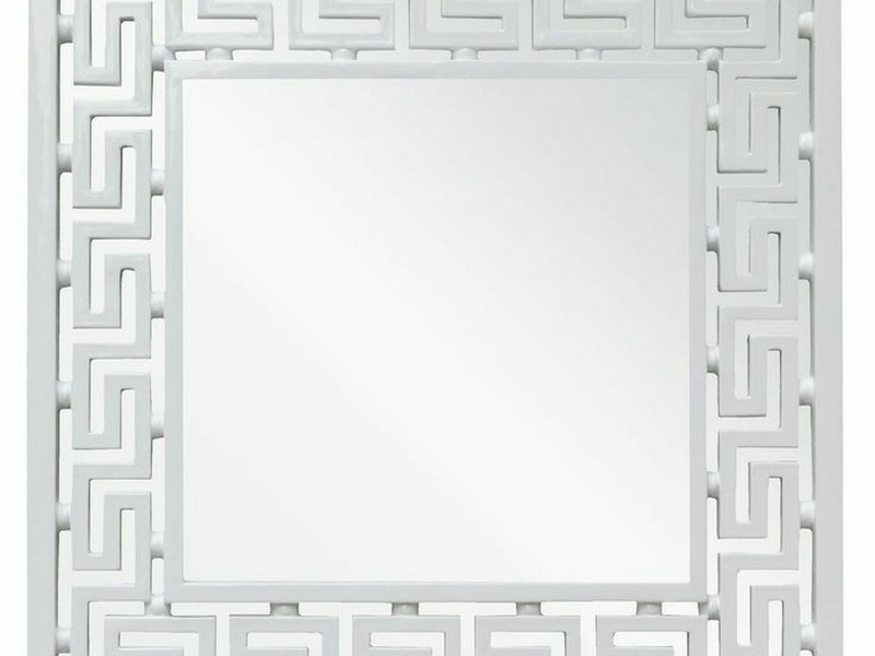 Greek Key Mirror White