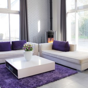 Grey Couch Purple Pillows