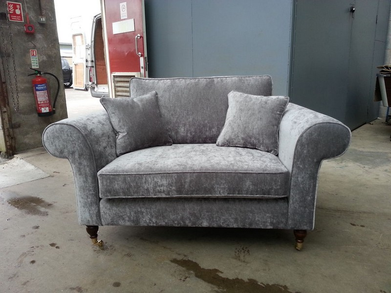Grey Crushed Velvet Couch