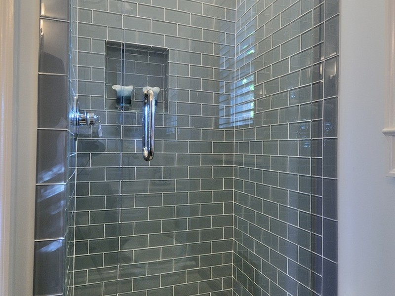 Grey Glass Subway Tile Bathroom