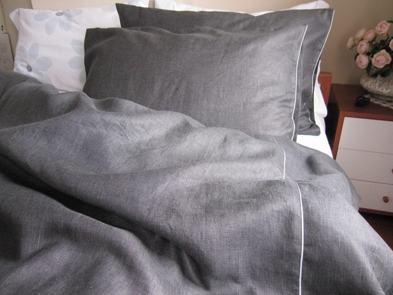 Grey Linen Duvet Cover Queen