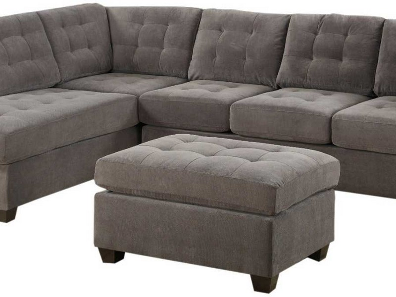 Grey Microfiber Sectional Couch