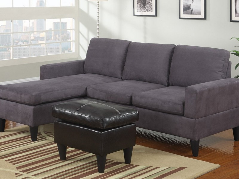Grey Microfiber Sectional Sofa