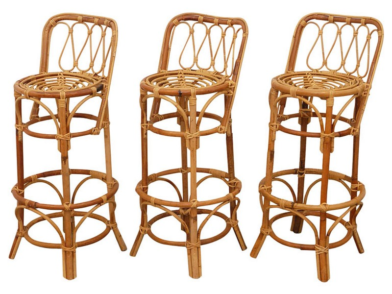 Grey Rattan Bar Stools