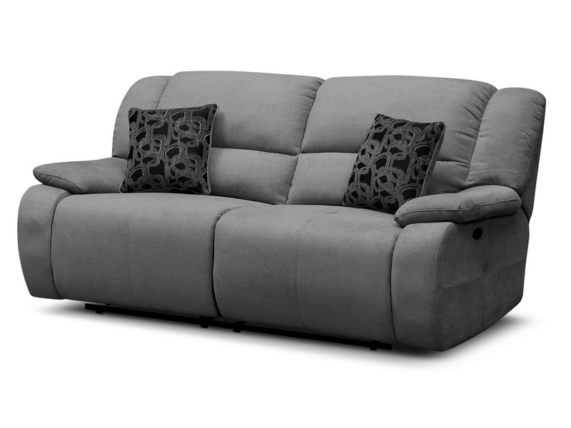 Grey Reclining Leather Sofa