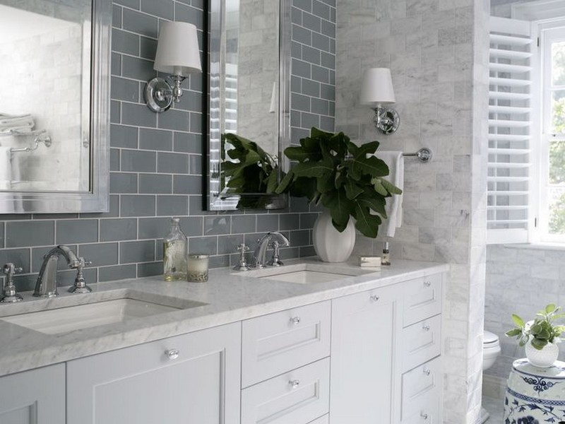 Grey Subway Tile In Bathroom