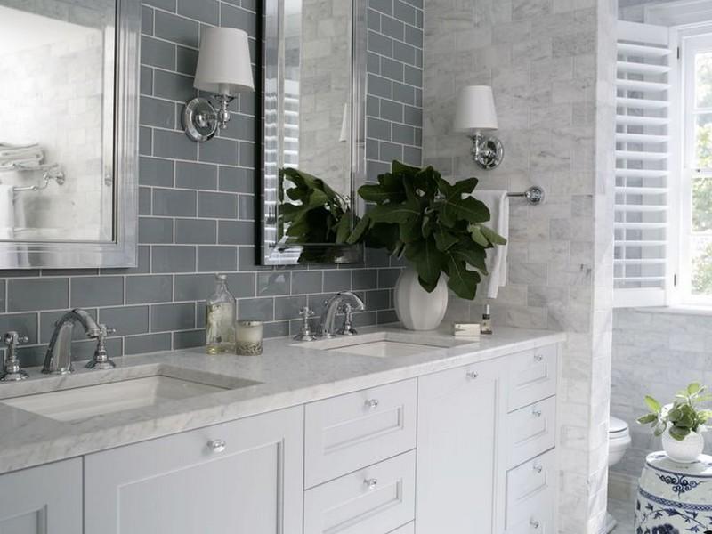 Grey Subway Tile In Bathroom