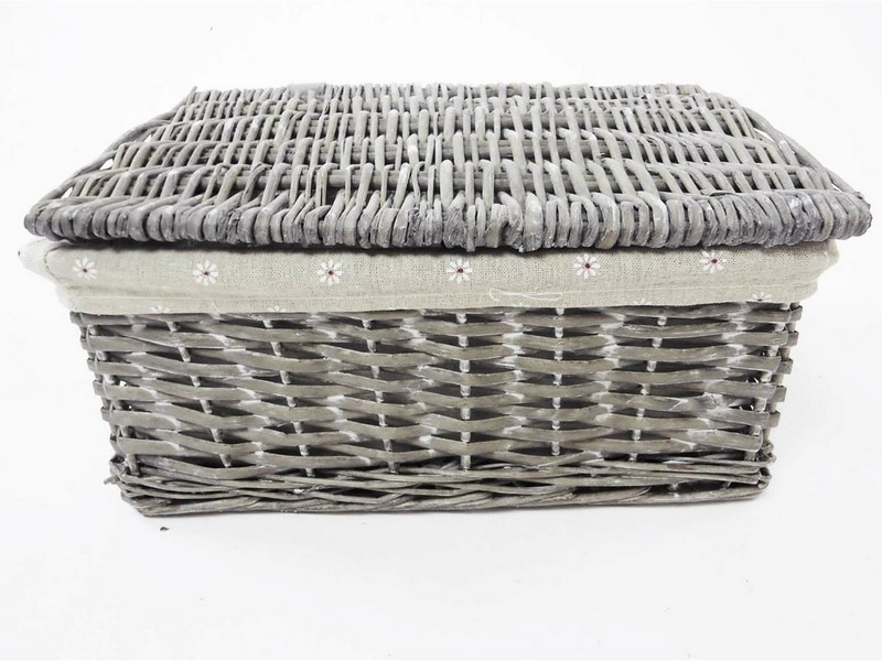Grey Wicker Bathroom Storage