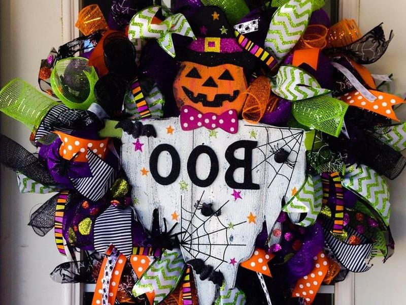 Halloween Geo Mesh Wreaths