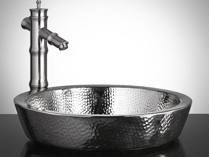 Hammered Stainless Steel Bathroom Sink