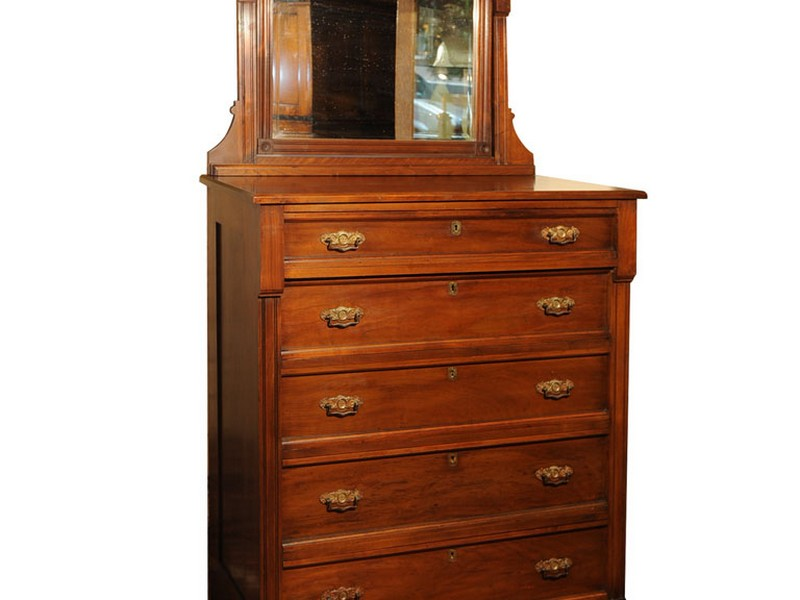 Highboy Dresser With Mirror