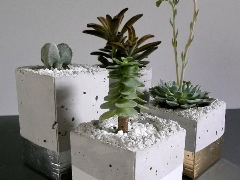 Homemade Cement Flower Pots