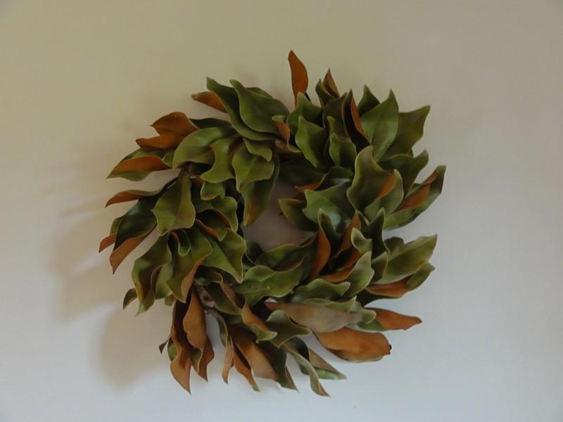 Homemade Magnolia Leaf Wreath