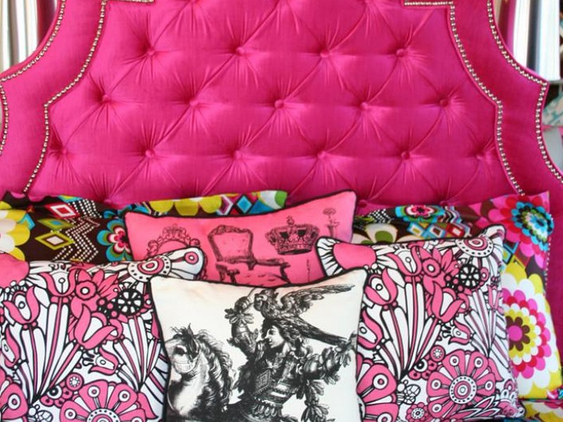 Hot Pink Upholstered Bed